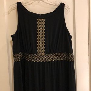 Black maxi dress with gold thread design